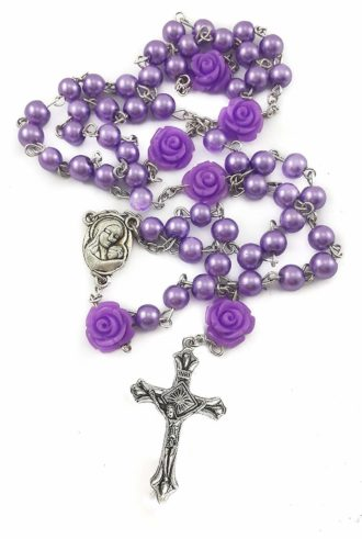 Catholic Purple Pearl Beads Rosary Necklace Our Rose Holy Soil Medal