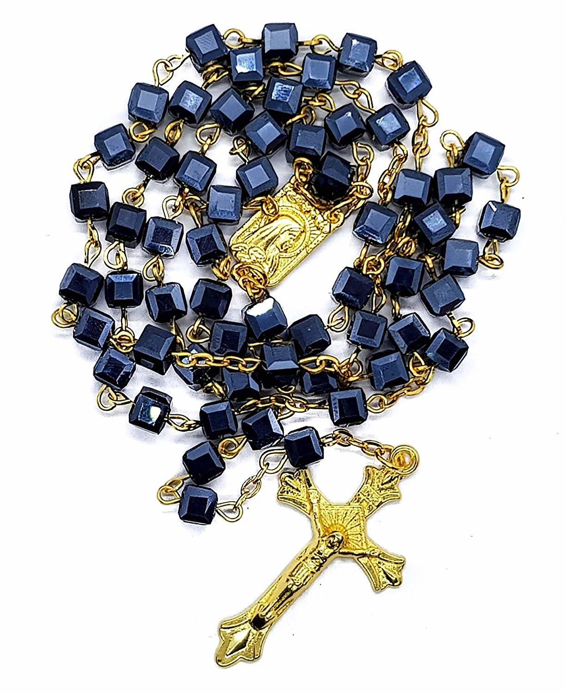 3c9e89e91f8 Black Rosary Quad Beads Catholic Necklace Lourdes Medal Cross ...