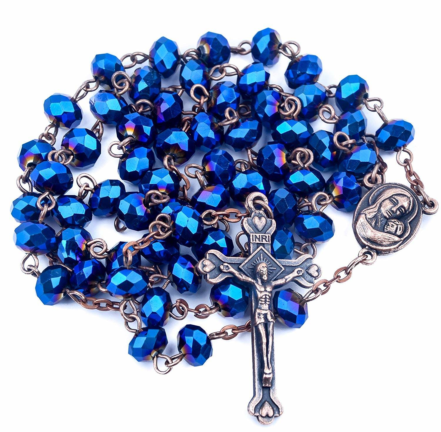 d34173e84 Antique Deep Blue Crystal Beads Rosary Necklace Holy Soil Medal ...
