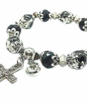 Cross Bracelet Christian Classic Beaded Bangle with Black Crystal Beads