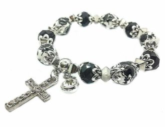 Cross Bracelet Christian Classic Beaded Bangle with Black Crystal Beads