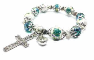 Christian Classic Beaded Bangle with Green Crystal Beads