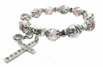 Cross Bracelet Christian Classic beaded Bangle with Pink Crystal Beads