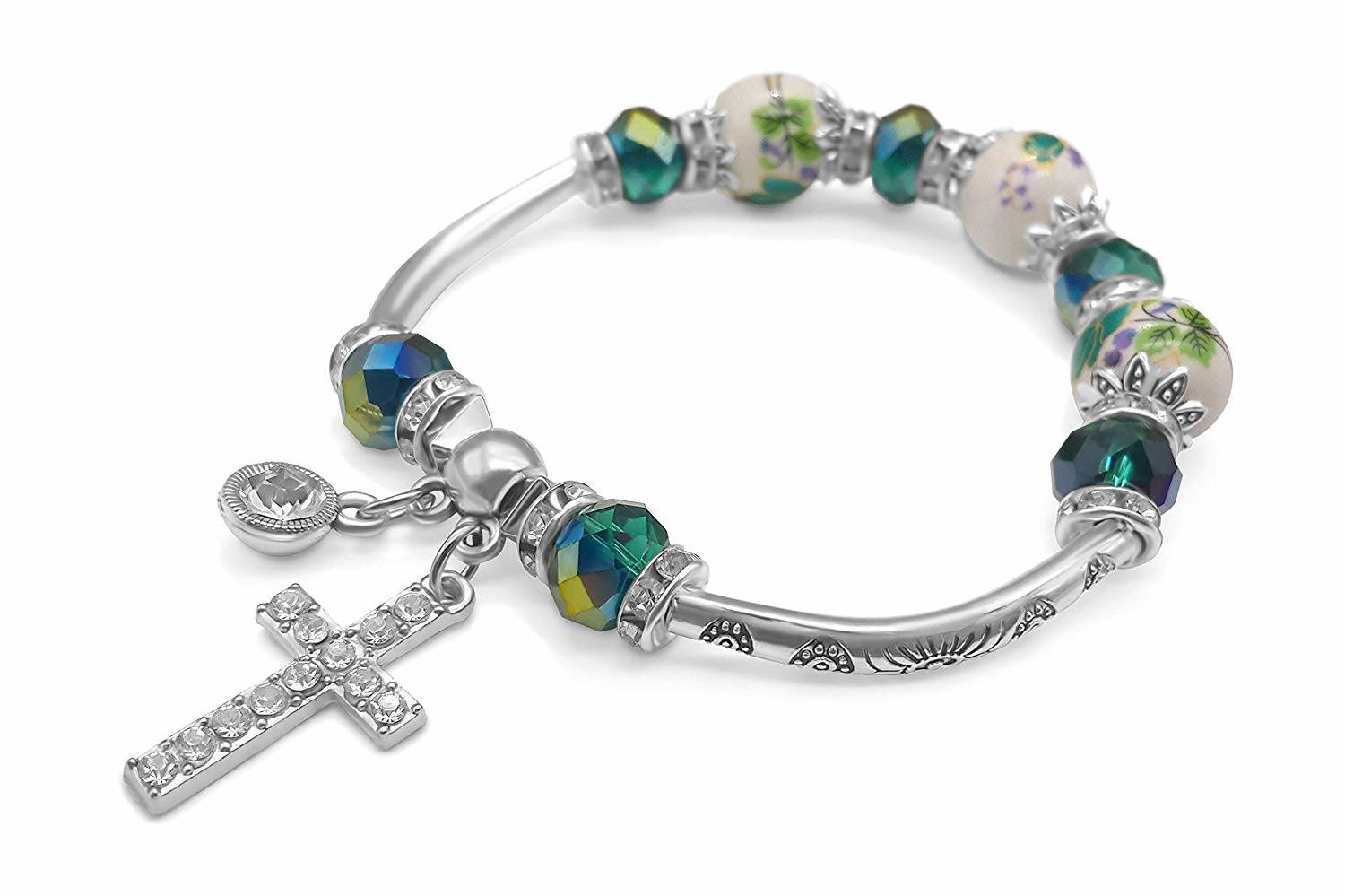 Cross Bracelet Silver Handmade Bangle Green Crystal Beads