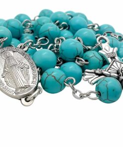 Turquoise Marble Beads Rosary Catholic Necklace Miraculous Medal